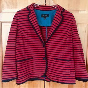 Talbots Red & Navy Stripe Cotton Blazer Nautical